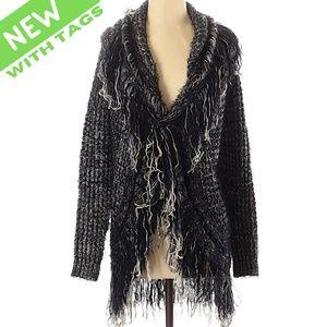 NWT S Cozy Fringe Ragged BohoSweater Cardigan Coat